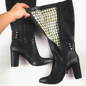 Never worn Anne Klein Black knee high boots w heal